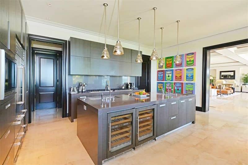 casa sophia bahamas estate kitchen andy warhol wall art