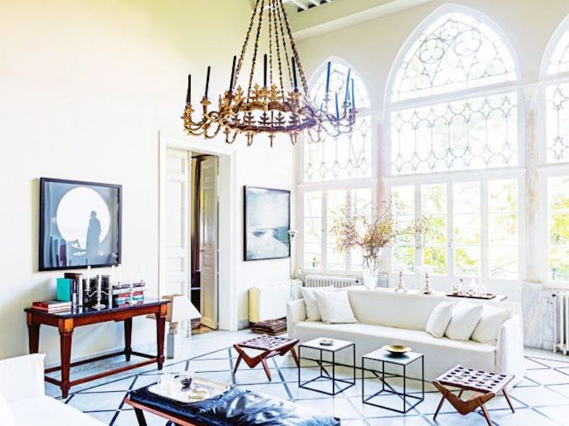 Lebanese home tour chandelier white couch