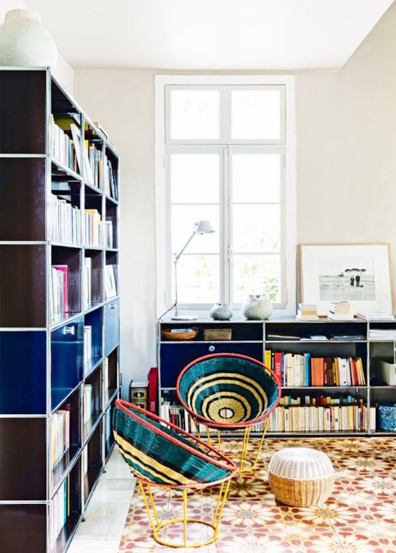 Lebanese home tour black bookshelf straw chairs