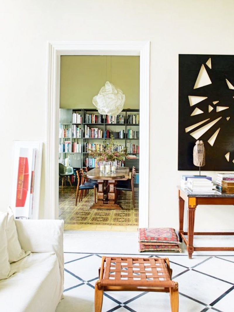 Lebanese home tour living room modern art wood wicker chair