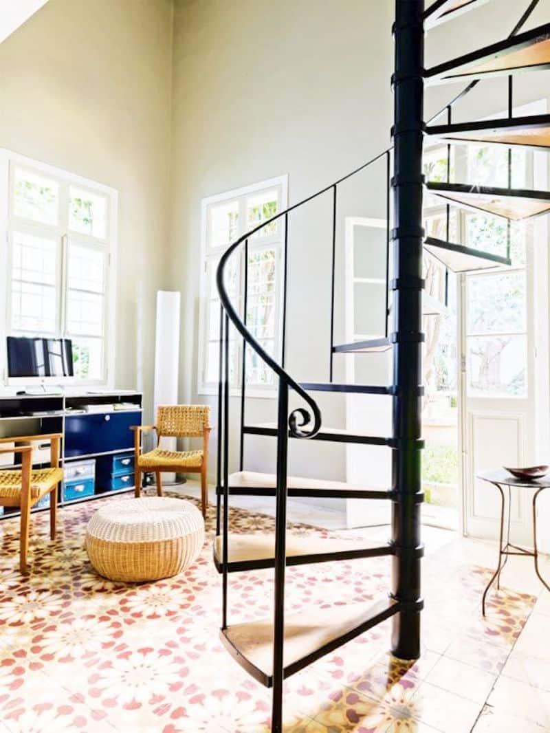 Lebanese home tour black spiral staircase
