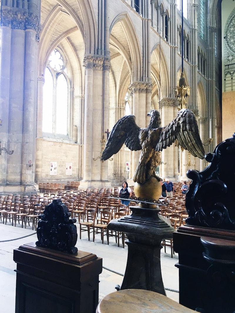 reims gothic cathedral gargoyle statue