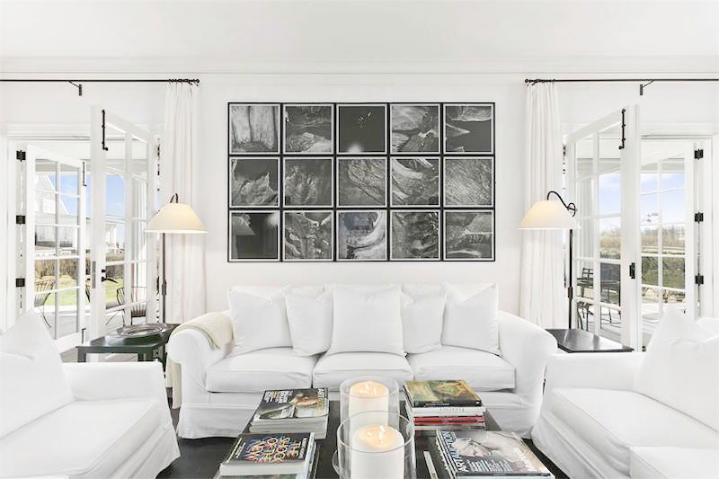 southampton estate family room wall mural white couch
