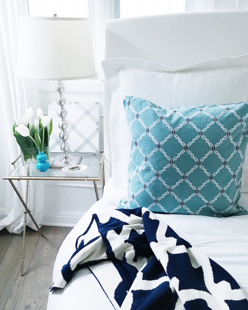 bedside table style gate throw blue kip pillow