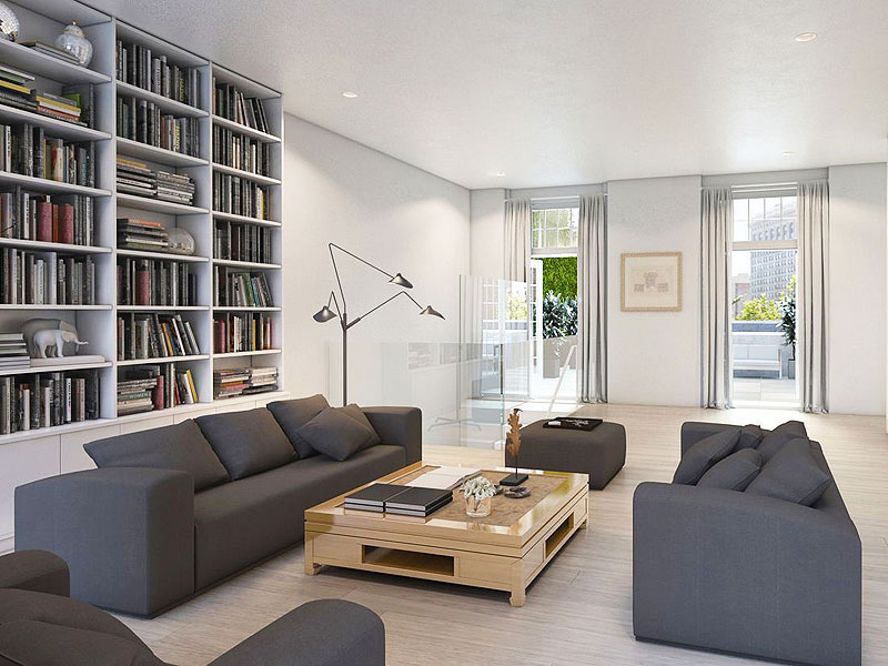 nyc penthouse living room grey couch bookshelves