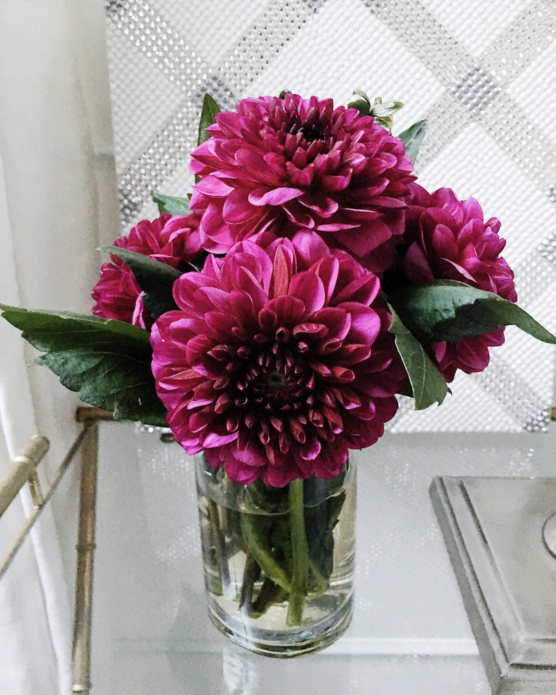 bedside table dahlias