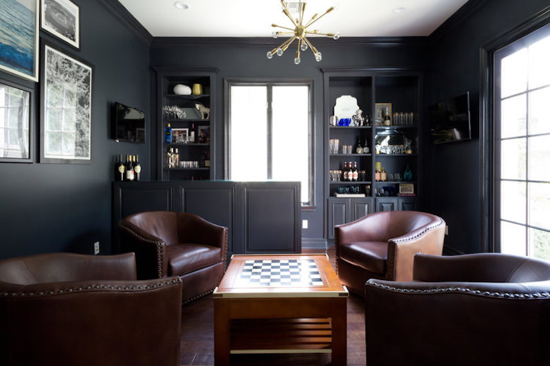 california home remodel library after dark grey walls leather chairs game table