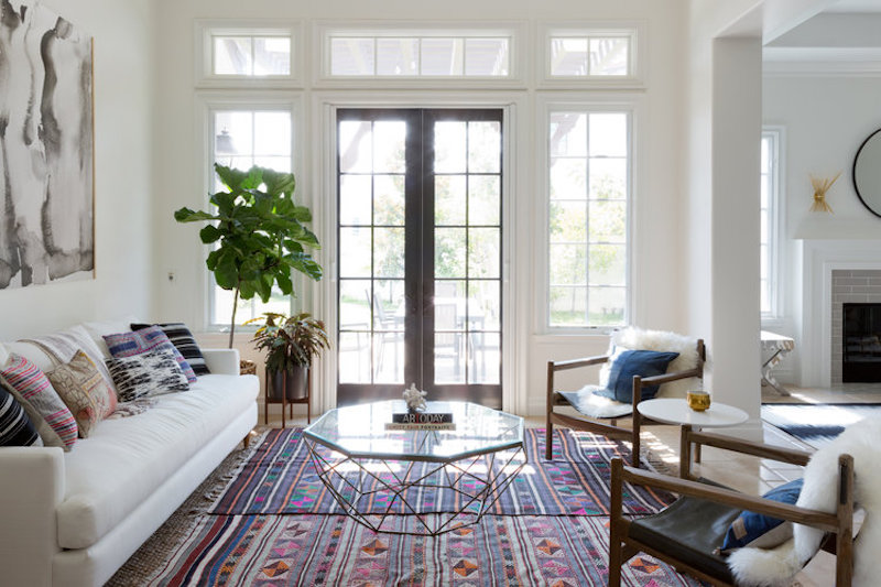 california home redesign living room after french doors white couch coffee table rug