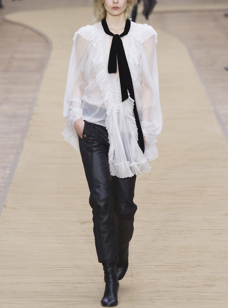 chloe ready to wear leather pants white shirt