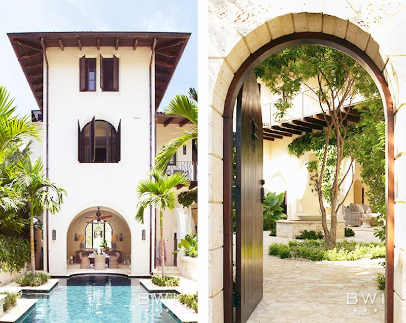 costa rica vacation home entry way pool spanish architecture