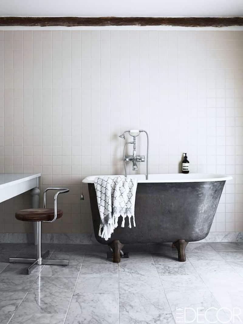 monochromatic bathroom vintage tub