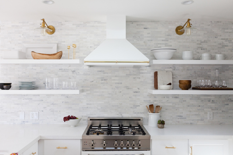 small white kitchen hood range open shelving