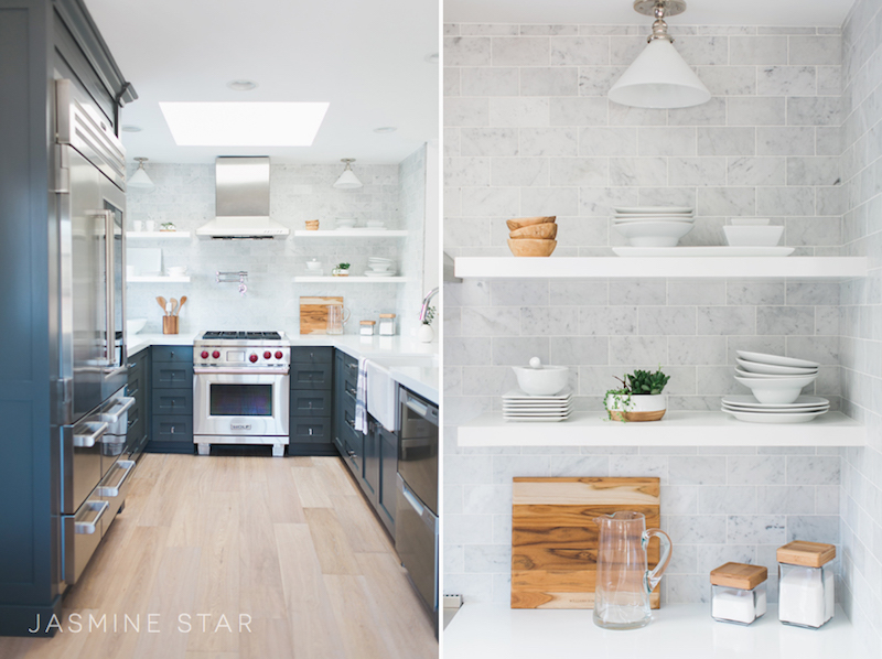 kitchen white counters open shelving