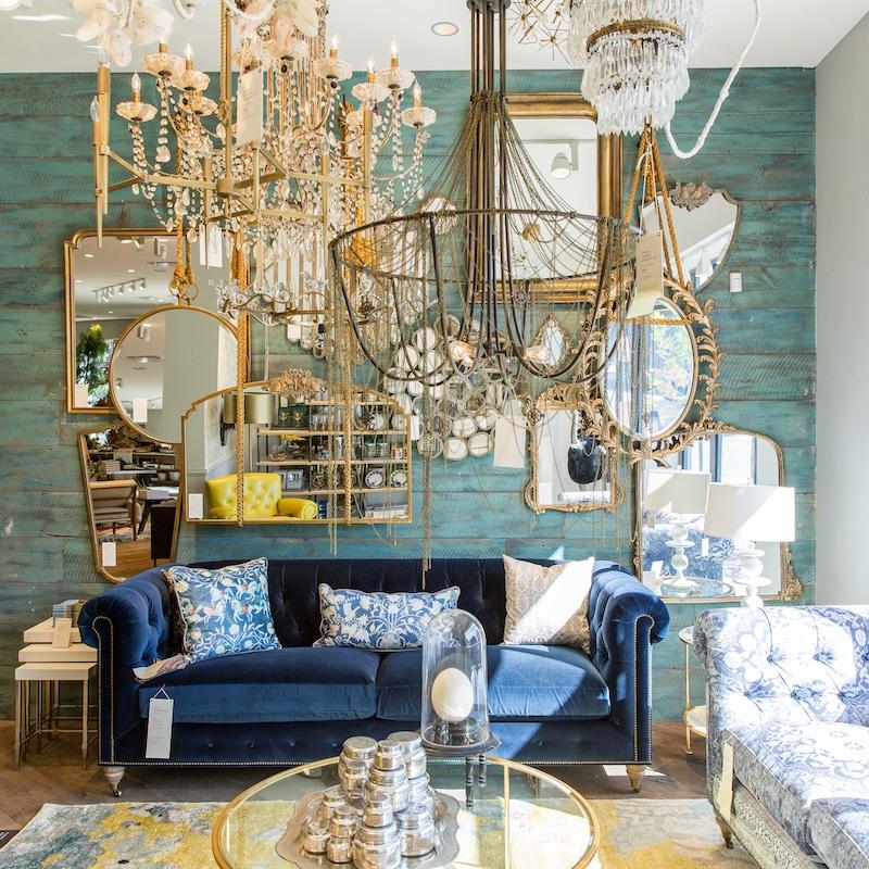 living room design gold mirror chandelier anthropologie