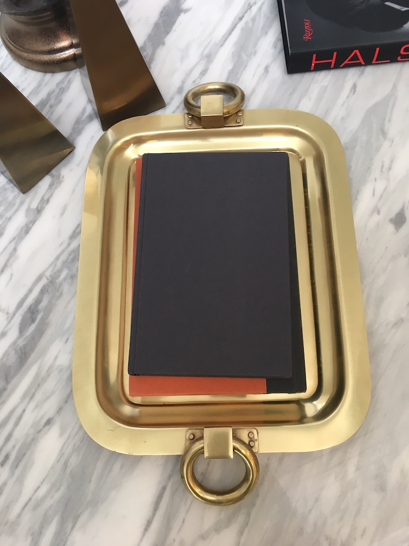 coffee table styling gold platter