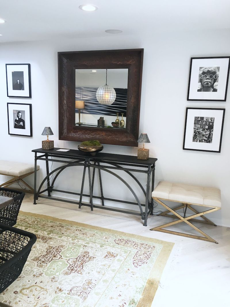 eclectic dining room mirror console gallery wall