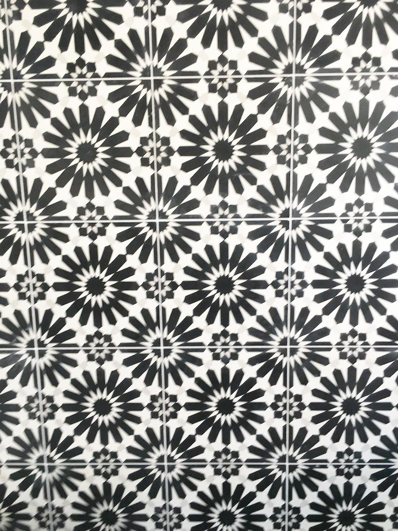 black white cement tile
