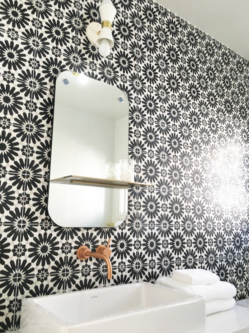 Cement bathroom tiles - Black White Cement Tile Mirror Sink Bathroom