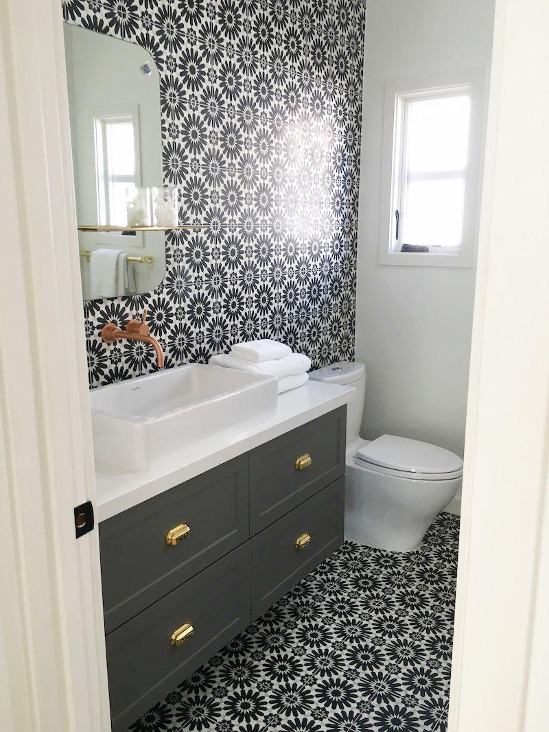 black white cement tile bathroom