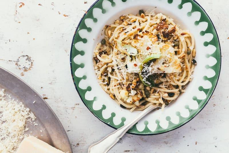 spaghettiwithroastedcauliflowercurrantspinenutschileandsardinesviamillys-kitchen
