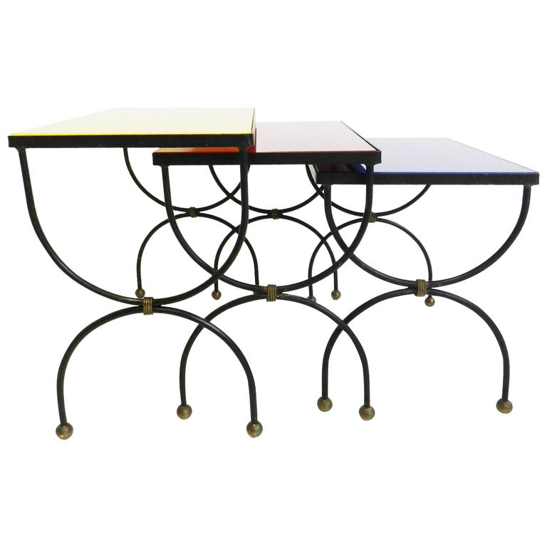 metal nesting tables black white home office cococozy 5
