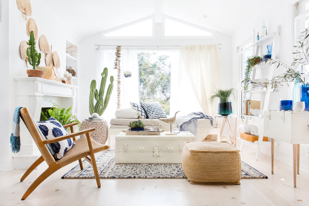 fresh bohemian living room | cococozy