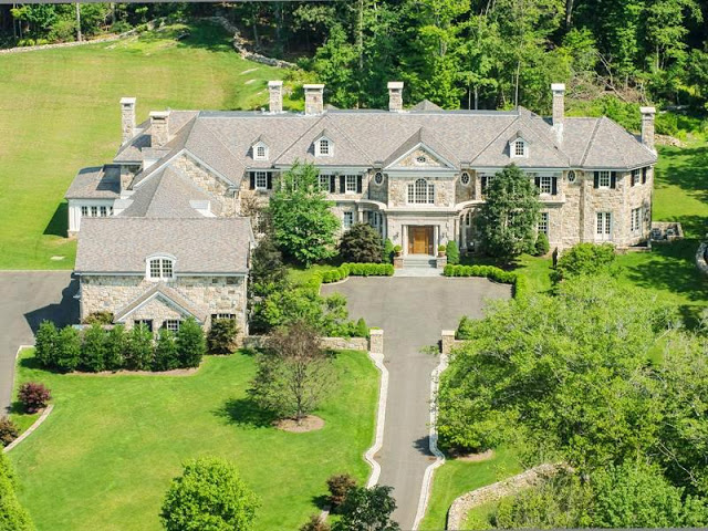 ariel view of a mansion in Greenwich, Connecticut