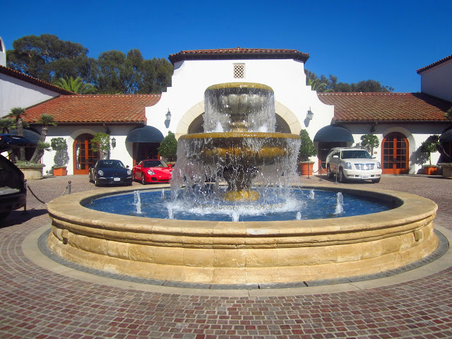 Spanish style circular fountain in frot of Bacara resort in Santa Barbara