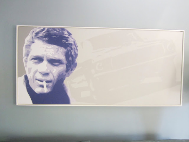 Painting of Steve McQueen with a Ford Mustang from the 1968 movie Bullitt