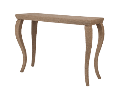 console table wrapped in rope