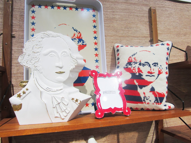 George Washington bust, pillow and tray from Jonathan Adler's booth at the New York International Gift Fair