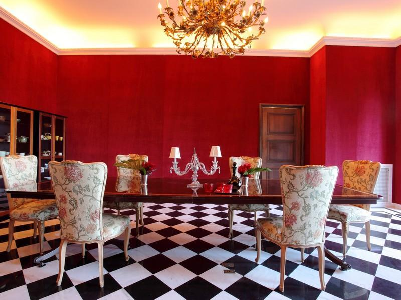 red and gold dining room | SEE THIS HOUSE: A $20 MILLION BAY AREA VILLA! | COCOCOZY
