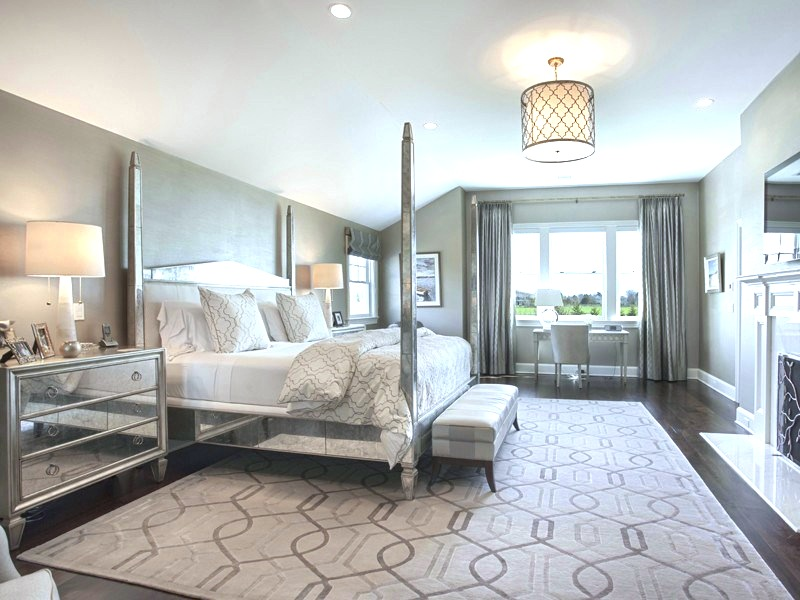 Perfect Grey master bedroom Hamptons mansion Water Mill estate four poster bed mirrored
