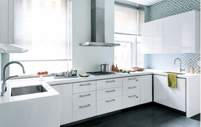 Good Small White Kitchen Light Blue Wallpaper Geometric Pattern Stainless Hood Integrated Cooktop Cook Bright With