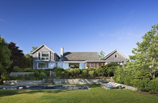 exterior view of a lake house in Montauk on Long Island