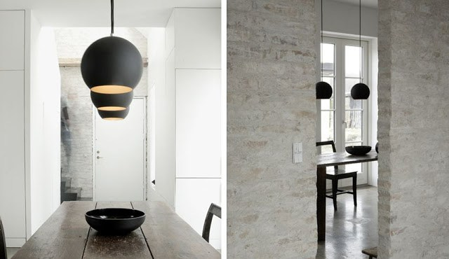 Two views of a modern dining room with matte black dome pendant lights hanging over a wooden dining room table