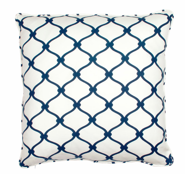 COCOCOZY Fence Linen Pillow in Navy