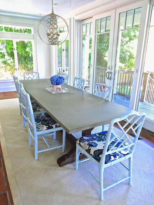 dining room table light blue chippendale chairs east hampton