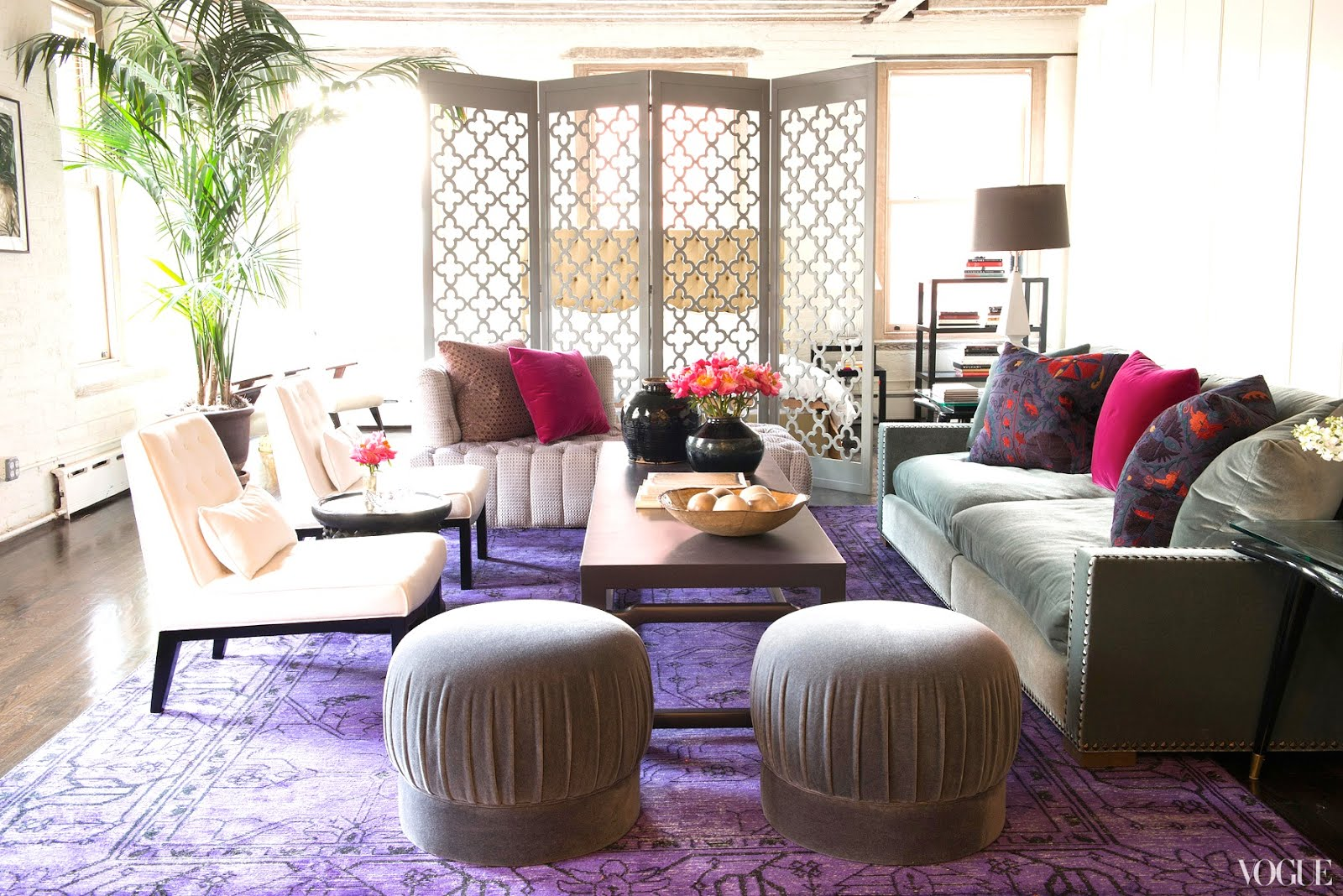 Living Room In Zani Gugelmannu0027s New York City Loft With A Purple Persian  Rug, Grey