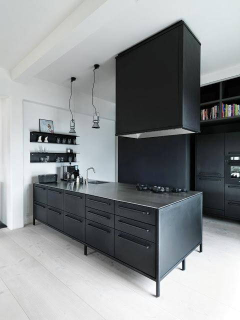 Modern black kitchen with white floor