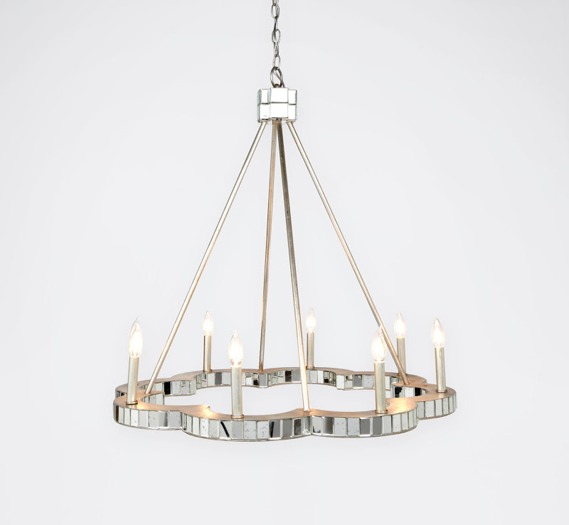 Flower shaped mirrored chandelier by Made Goods