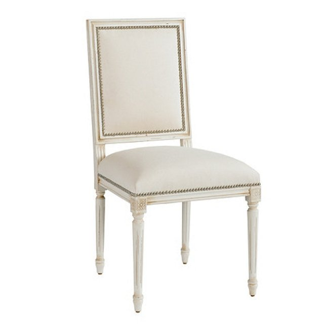 white louis xvi chair pewter nailhead trim rectangle square back french reproduction dining room