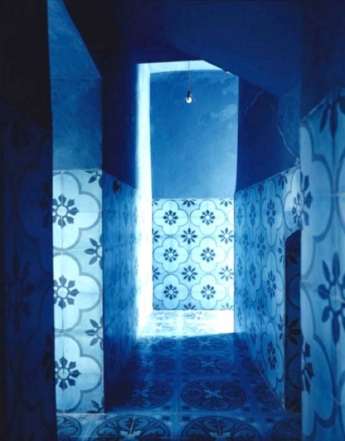 Mysterious blue hallway Moroccan tiles