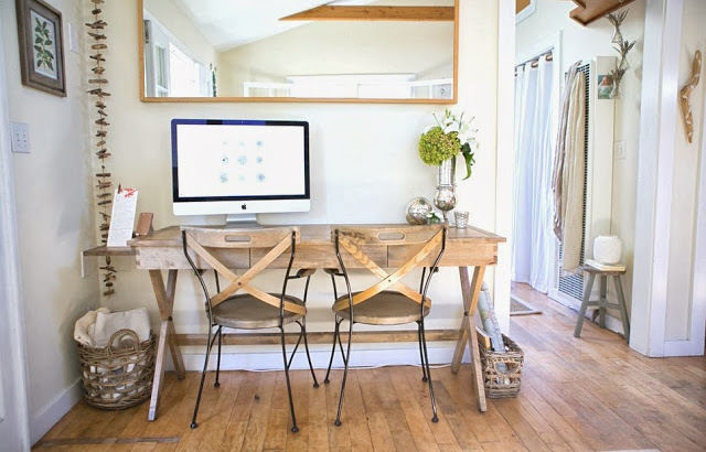Small home office in a beach cottage that doubles as a dining room