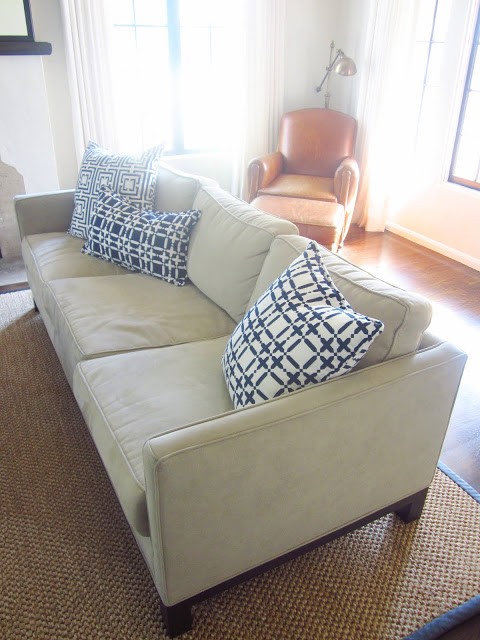 mix and match COCOCOZY pillows on the living rooms neutral dueling sofas