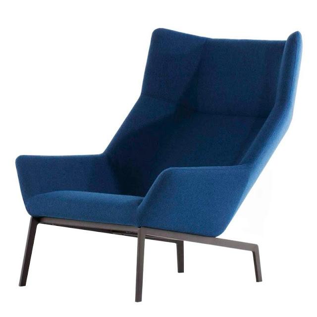 Steel base modern wing-back chair