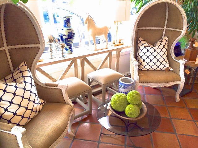 COCOCOZY Fence pillows in dome chairs at Mecox Gardens