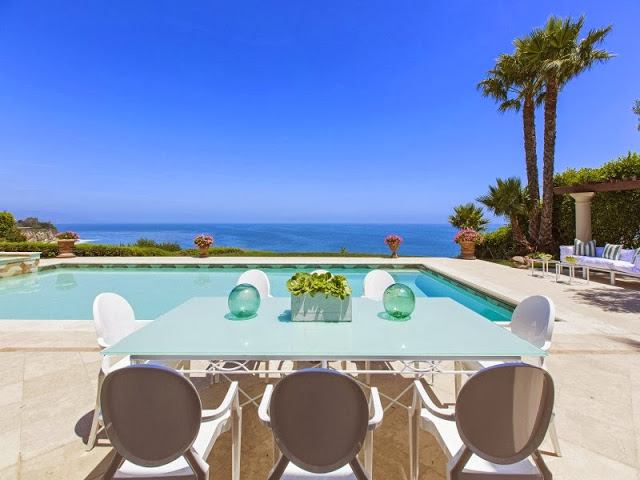 Backyard of a Malibu villa with a large pool and ocean view