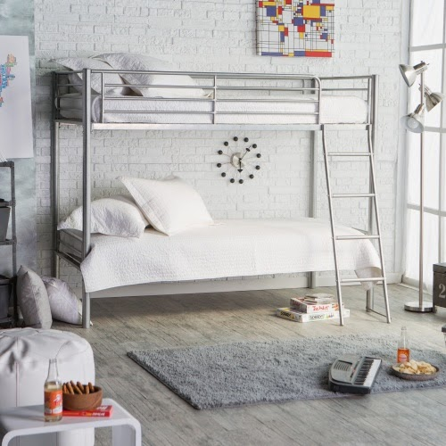 Stunning Silver metal modern bunk bed above u Click here to shop