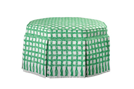 Octagonal shaped ottoman with green white trellis rope by Lilly Pulitzer
